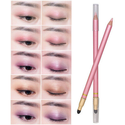 1Pcs Eyeliner Pencil Eyeshadow With Brush Waterproof Eyes Beauty Tool Dual Ended
