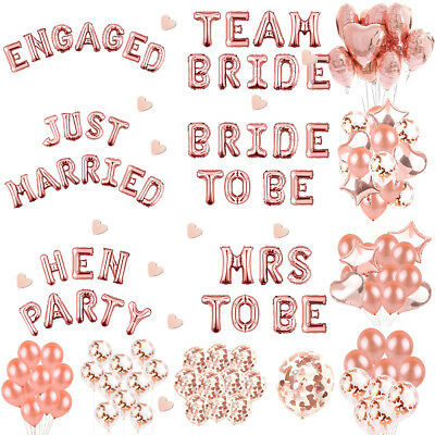 Rose Gold Hens Party Bride To Be Foil Latex Confetti Balloons Girls Night Out