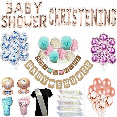 Baby Shower Boy Girl Sashes Unisex Balloons Banner Christenig Baptism Party Deco