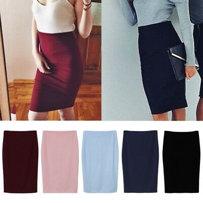 AU Womens Ladies Stretch Bodycon Midi Office High Waist Pencil Cocktail Skirt