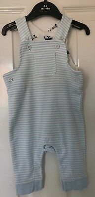 Ex M&S Baby Boys Pale Blue Stripe Stripey Dog Jersey Dungarees Age 0 3 6 Mths