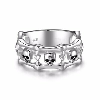 Prom 925 Silver Skull Punk Jewelry Women Anniversary Band Gift Ring Size 5-10