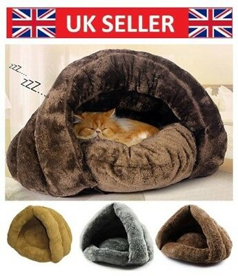 Warm Igloo Pet Bed with Fur Trim For Dog/Puppy/Cat/Kitten Colors Choose UK pet