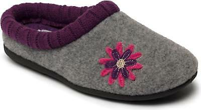 Padders FREESIA Ladies Womens Felt Warm Lined Extra Wide (2E/3E) Slippers Grey