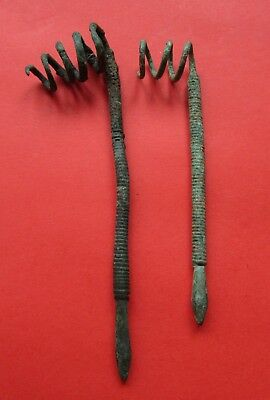 Ancient Bronze needles for hair.  A set of 2 pieces IX-XI Century!