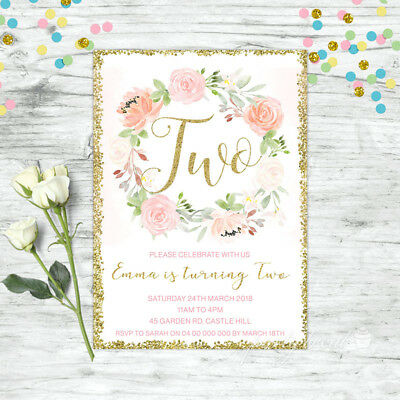 Floral Second 2Nd Birthday Invitation Pink Gold Confetti Girls Party Invite