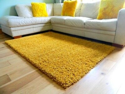 Small Large Mustard Ochre Gold Thick Soft Bedroom Shaggy Rug Living Room Rug