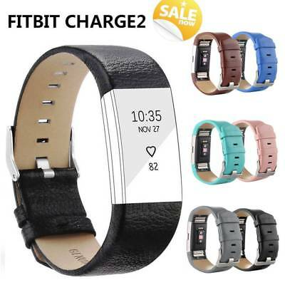 Real Leather Strap Replacement Band Bracelet Watch Band For Fitbit Charge 2 UK