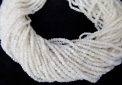 """13"""" Top A++ Natural White Moonstone Rondelle Faceted Gemstone Loose Beads 3-4 Mm"""