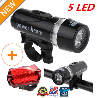 Waterproof Bright 5 LED Bicycle Bike Front Headlight and Rear Tail Light Set lot