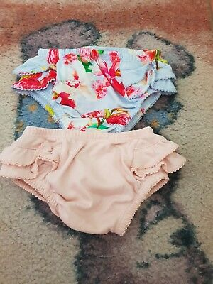 New Ted Baker Baby Girls Floral Frilly Pants 2 Pack 6-9 months