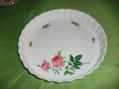 Christineholm Flan Dish-Used-In Good Condition-Pink Rose Design-10 Ins. Diameter