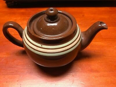 ALB Vintage 1 cup English Teapot Made in England Brown with Stripes & Hole