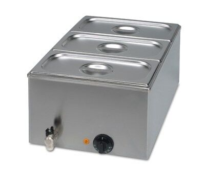 Special Offer Wet Commercial Bain Marie + Drain Tap + 3x1/3 GN Pans