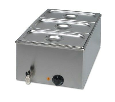 Wet Commercial Bain Marie + Drain Tap + 3x1/3 GN Pans - Special Offer - FREE P&P