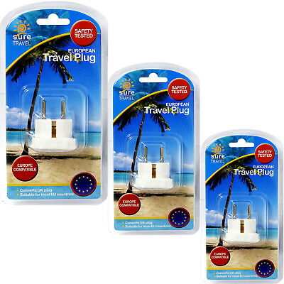 Sure Travel Enchufe Europeo Paquete Triple, 3x Gb a Ue Power Convertidor