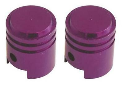 Bike It Motorcycle Tyre Pair Round Purple Anodised Small Valve Caps BC6323 - T