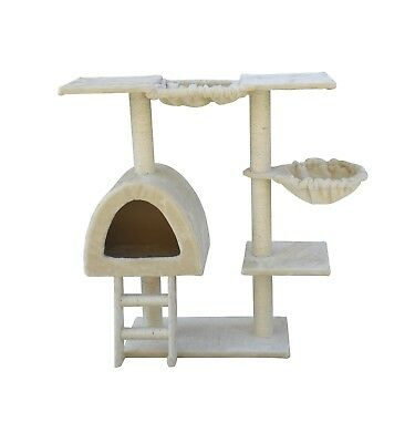 100 cm Beige Cat Tree Scratching Post Scratcher Pole Gym Toy House Furniture