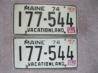 Pair of 1977 Maine License Plates 177-544 - VACATIONLAND
