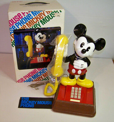 Vintage Disney Mickey Mouse Pushbutton Phone With Box