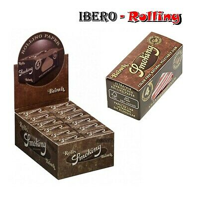 Papel de fumar Smoking Brown Rolls, caja de 24 rollos, papel de liar natural
