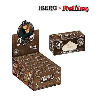 Papel de fumar Smoking Brown Rolls, pack de 12 rollos, papel de liar natural