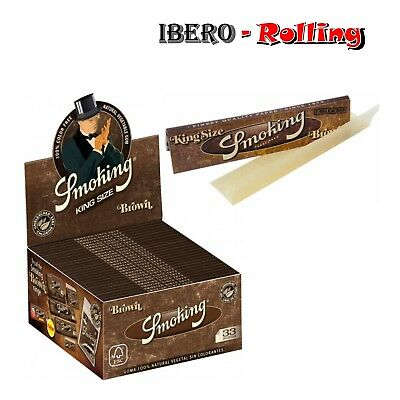 Papel Smoking Brown King Size. Caja 50 libritos de 33 hojas papel liar natural