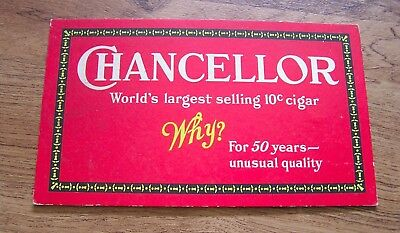 "Bright Vintage Chancellor Cigar Tobacco Advertisement Stand-Up Sign 5"" X 8 1/2"""
