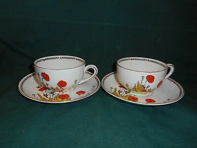 2 Crown Ducal cups & saucers, poppy pattern A1915