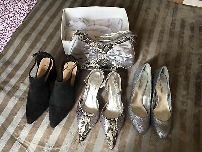 3 Pairs Of Good Quality Ladies Shoes Size 3 and Handbag.