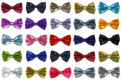 Mens Boys Bow Tie Pre Tied Wedding Party Fancy Plain Silk Satin Necktie Bow Tie