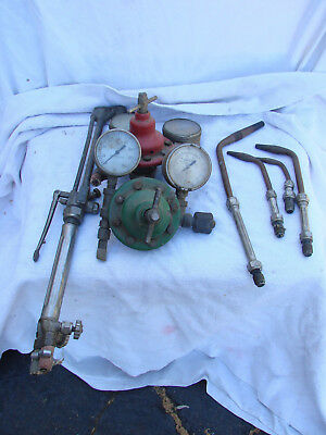 Vintage LOT Smith's Lifetime Oxy-Acetylene Cutting Torch Gauges Tips Welding