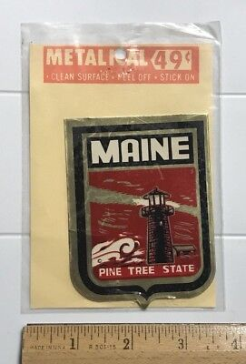 NOS Maine The Pine Tree State Lighthouse Metalical ME Sticker Decal Emblem