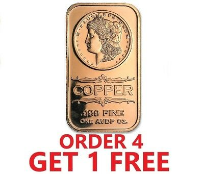 1 Ounce .999 Fine Copper Bar - Morgan Dollar