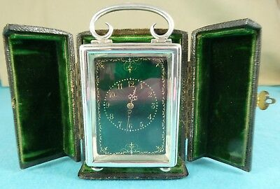 Victorian Sterling Silver Green Guilloche Enamel Carriage Clock Goldsmiths 1897