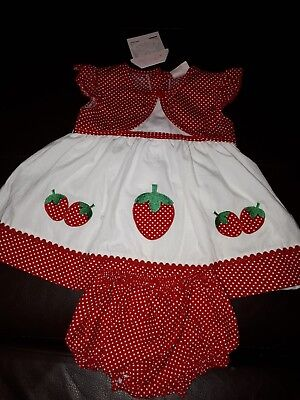 BNWT Baby girls red /& white strawberry and polka dot dress knickers hairband