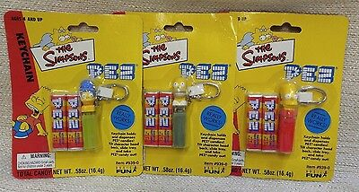 The Simpsons Keychain Pez Dispensers Set of 3 Retired NOC 2001 170297