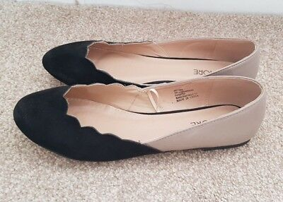 Flat Black and Nude Scalloped Edge Size 6 Shoes Matalan
