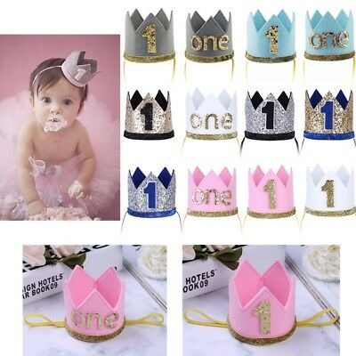 Baby Boys Girls One First Birthday Hat Crown Headband Tiara Headwear Photo Props