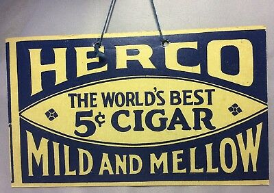 HERCO World Best 5 Cent CIGAR Light or FAN PULL Advertisng Sign Original Vintage