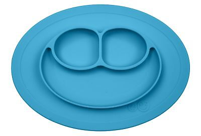 ezpz Mini Mat - One-piece silicone placemat + plate (Blue), One Size.