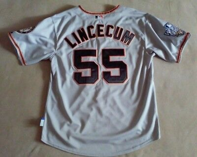 SF Giants 2010 World Series Tim Lincecum  55 jersey sz 48 MAJESTIC GRAY d30712790