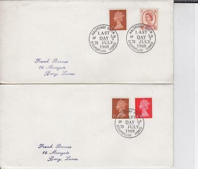 1969 LAST DAY OF THE OLD 1/2d STAMP FIRST DAY COVER- 2 DIFFERENT. A17