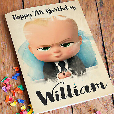 BOSS BABY Personalised Birthday Card FREE Shipping