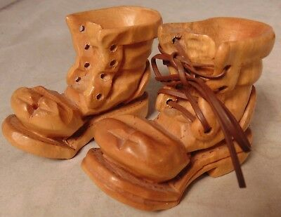 Jim Bristow Pair of Folk Art Carved Wooden Work Boots shoes Brogans