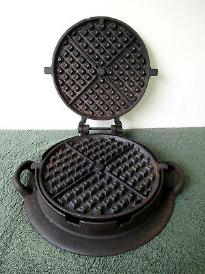 Antique Waffle Maker Vtg Primitive Cast Iron Squares Design, Side Handles, RARE