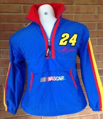 Jeff Gordon 24 Reversible Fleece Nylon 1/4 Zip Pullover Jacket Youth Large 14 16