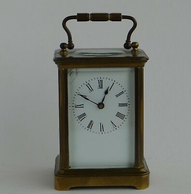 heavy OLD FRENCH BRASS CARRIAGE CLOCK 8-DAY full working order in original cond