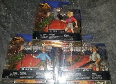 3 JURASSIC WORLD Complete Set LEGACY Figures ROBERT MULDOON Dr Ellie ALAN GRANT