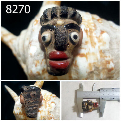Ancient Style Patina Red Lip Black Face Head Islam Mosaic Glass Pendant #8270